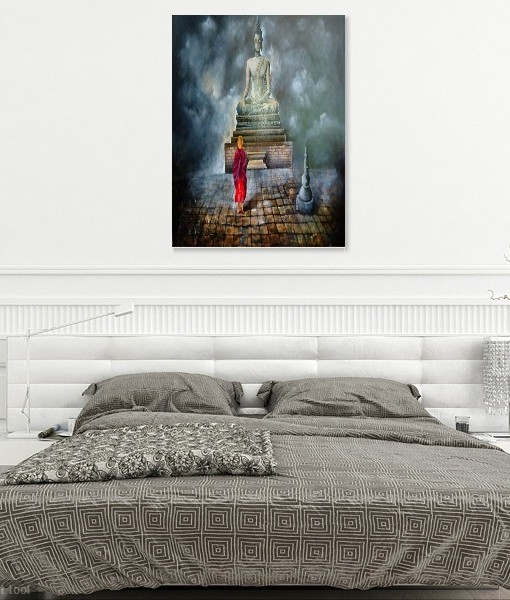 BUDDHA-AND-MONK WALL VIEW 4