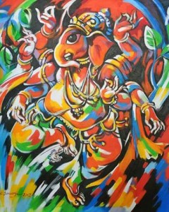 GANESHA IN HOLI MOOD