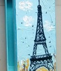 MDF HAND PAINTED MULTICOLOR ABSTRACT EIFFEL TOWER BOX (Side View)