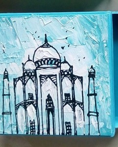 MDF HAND PAINTED MULTICOLOR ABSTRACT TAJ MAHAL BOX (Side View)