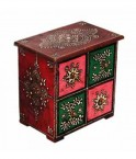 Colourful Embossed  four drawer wooden box1