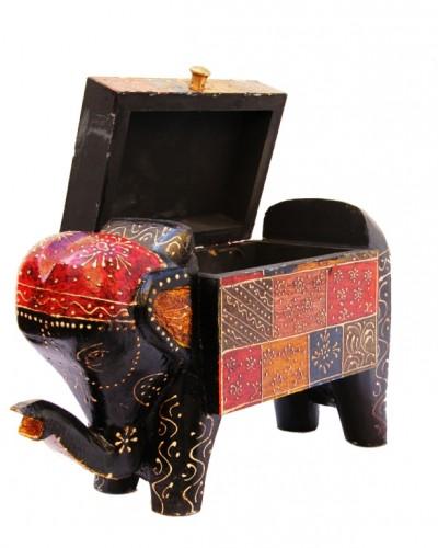 ELEPHANT SHAPE EMBOSSED WOODEN BOX