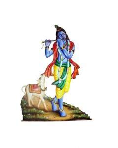 Krishna-flute-and-cow-iron-wall-hanging