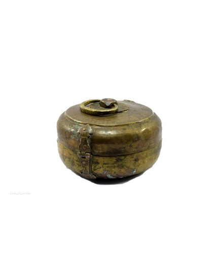 1850s-Indian-Antique-Brass-Round-Chapatti-Bread-Box-In-Original-Condition.jpg--b