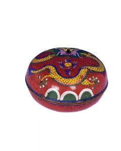 19c-Chinese-Original-Cloisonné-Enamel-Round-Vintage-Collectible---c