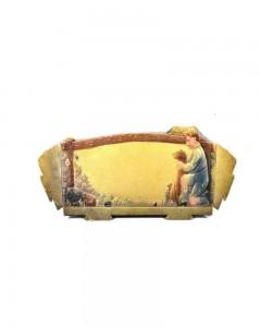 Antique-Decorative-Collectible-Fine-Lithograph-German-Print-Village---a