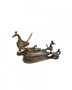 Antique-Hand-Crafted-Peacock-Brass-Vermilion-(Kumkum)-Tika-Box