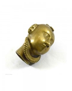 Antique-Old-Hand-Crafted-Brass-Lady-Face-Figurine-Face-Bust-(Gangaur)