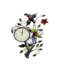 BIRD FIGURE IRON CLOCK