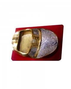 BRASS TWO TONE ASH TRAY JUTI SHAPE