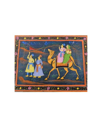 Beautiful-Decorative-Great-Handmade-Camel-Riding-Fine-Cloth-Painting---b