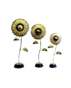 IRON & WOODEN THREE PEACES SET OF FLOWER SHAPE STAND