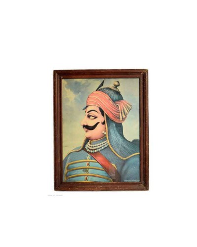 Indian-Decorative-Collectible-Rare-Maharana-Pratap-Old-Print-G8-110