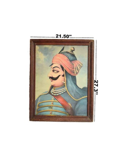 Indian-Decorative-Collectible-Rare-Maharana-Pratap-Old-Print-G8-110---c