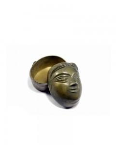 Rare-Vintage-Brass-Indian-Women-Face-Sculpture-Unique-Brass-Trinket-Box