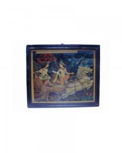 Vintage-Antique-Print-Of-An-Epic-Scene-Of-Arjuna-And-Subhadra-On-Chariot