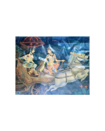 Vintage-Antique-Print-Of-An-Epic-Scene-Of-Arjuna-And-Subhadra-On-Chariot-----c