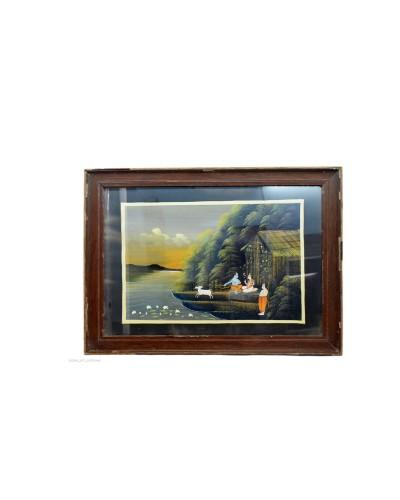Vintage-Collectible-Rare-God-Krishna-Decorative-Indian-handmade-painting