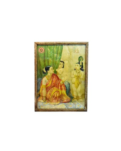 Vintage-Collectible-Rare-Indian-God-Krishna-Decorative-Ravi-Verma-Print-G8-95