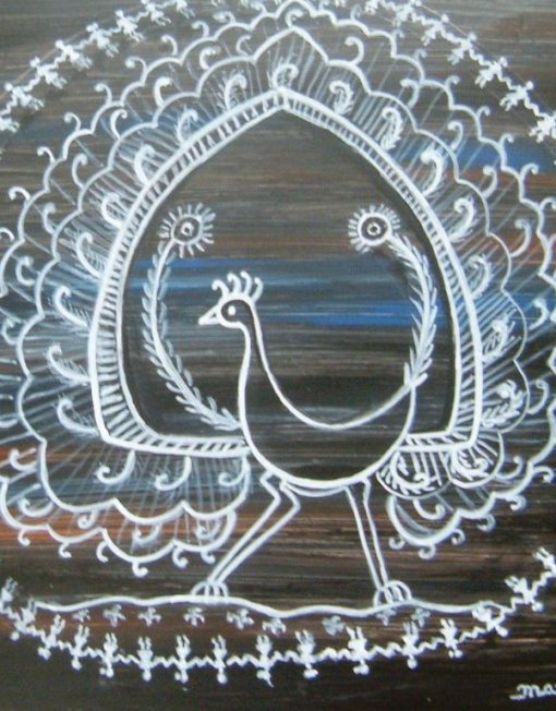 Warli peacock artvault warli painting on yupo paper thecheapjerseys Image collections