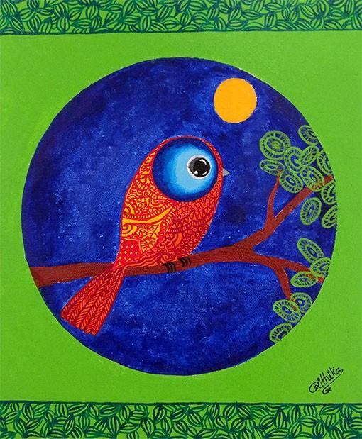 NIGHT BIRD 12_ X 10_.