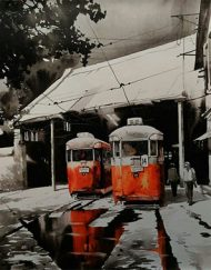 KOLKATA CITY SCAPE - DOUBLE TRAMS