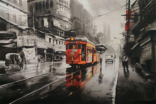 Kolkata City Scape Street 10 Artvault