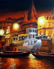 VARANASI GHAT AT NIGHT