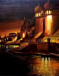 VARANASI GHAT AT SILENT NIGHT